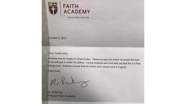Local Principal Writes Letter to Tooth Fairy Assuring Student Lost Tooth at School