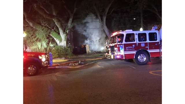 Car Crashes Into Building, Sparks Fire in Mobile
