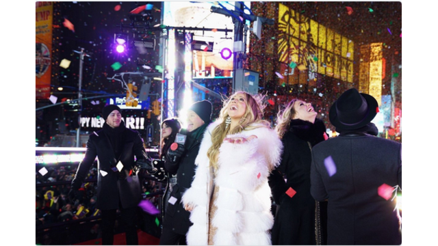 Mariah Carey Makes It Through Time Square Set Unscathed