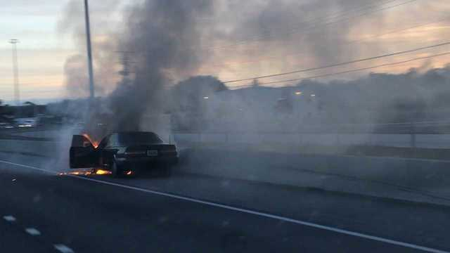 Vehicle fire on I-65 southbound near Moffett Road