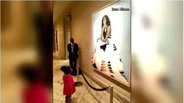 Little girl fascinated by Michelle Obama's portrait meets the real woman