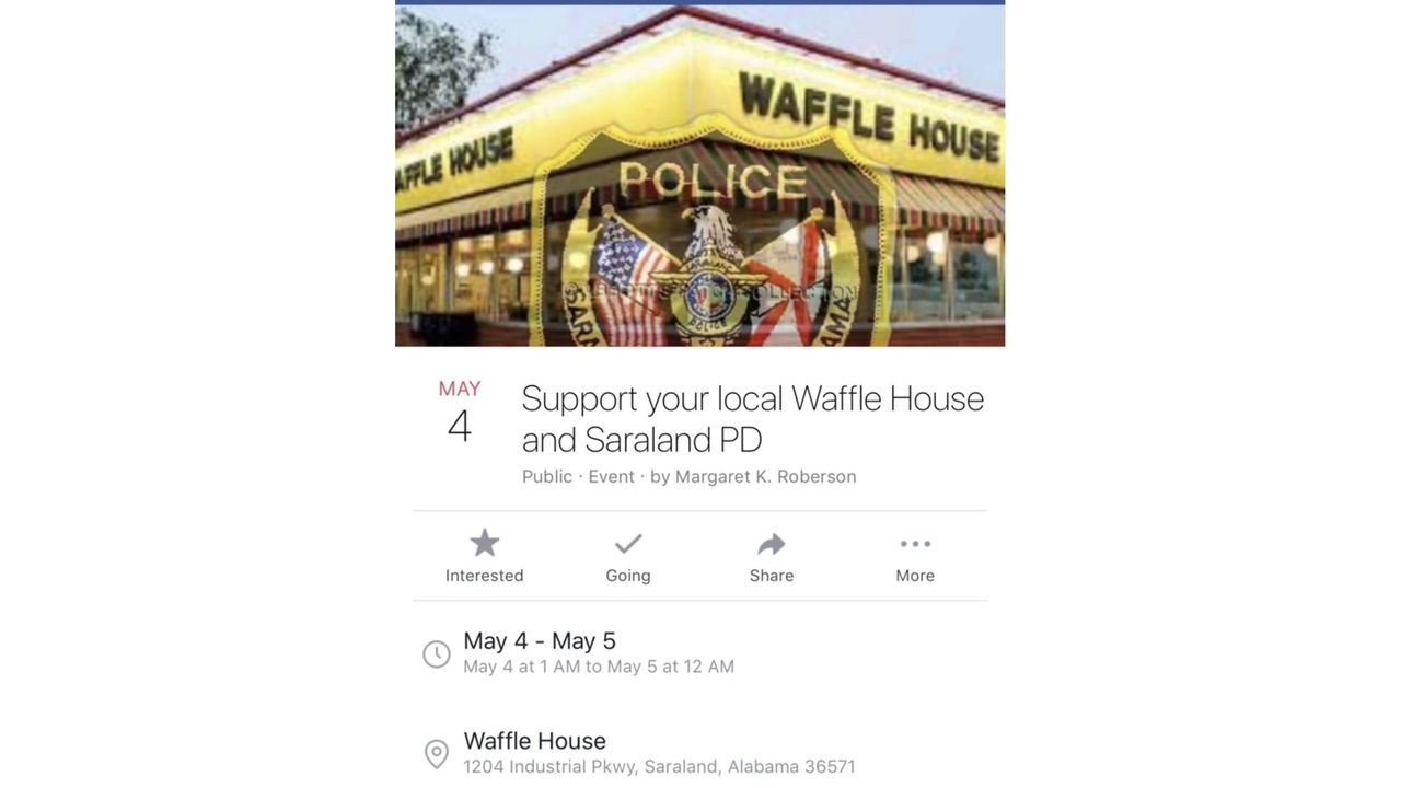 Event supporting Saraland Police and Waffle House circulating on ...