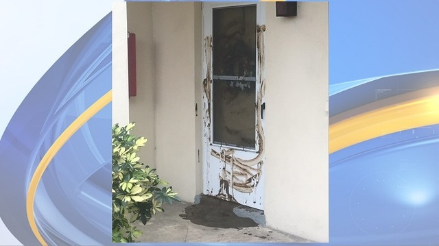 Veteran finds feces smeared on door again