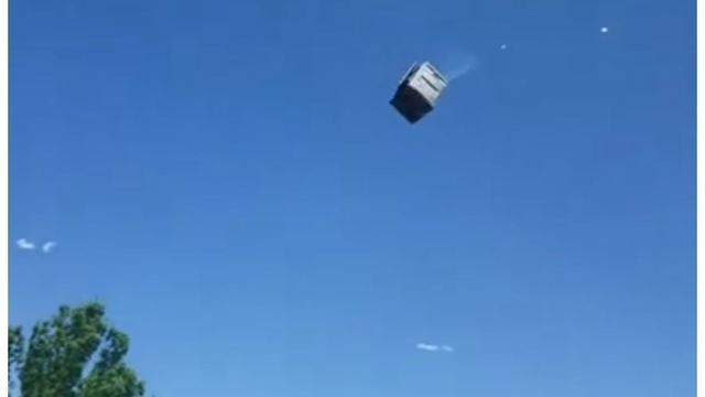 CRAZY VIDEO: Park-goers run for cover as windstorm sweeps up porta potties