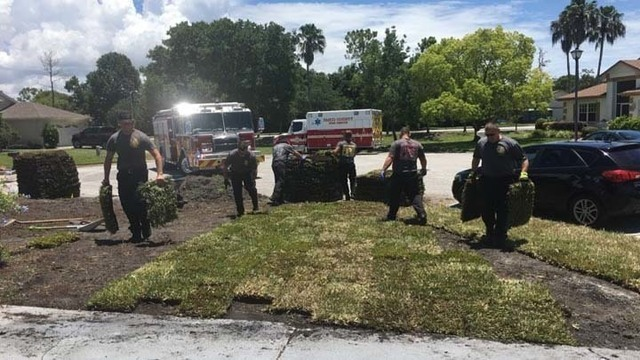 Firefighters lay homeowner's sod after he suffers massive heart attack