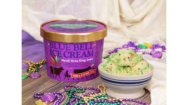 Blue Bell releases Mardi Gras King Cake ice cream