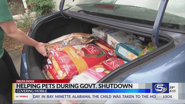 VIDEO: Delta Dogs/Ark Animal Clinic collecting pet food for