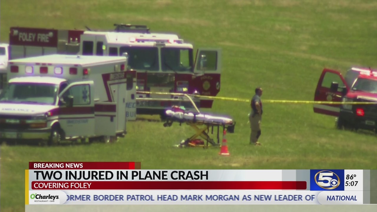 Plane crashes at Foley airport, two people injured