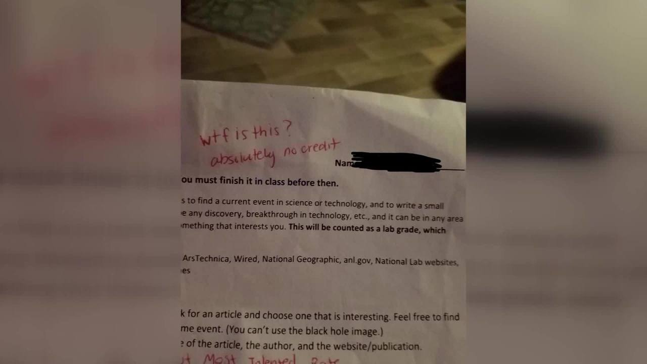 Science Homework Must See Video 939 >> Video Florida Teacher Gives Student Wtf On Homework Assignment